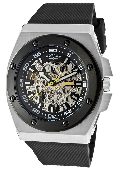 Rotary 610C Watches,Men's Editions Automatic Skeletonized Silver/Black Dial Black Rubber