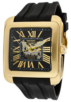 Rotary 711C Men's Editions Automatic Partially See Thru Silver/Black Dial Gold Tone IP Case Black Rubber