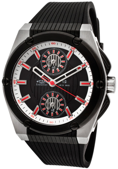 Rotary EGS00012-TZ3-04  Men's Evolution TZ3 Black Dial Black IP & SS Case Black Textured Rubber