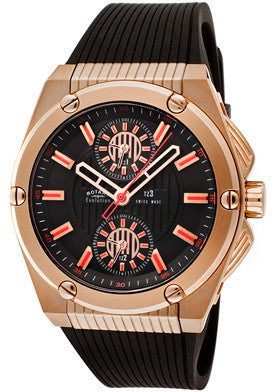 Rotary Men's Evolution TZ3 Black Dial Rose Gold Tone IP Case Black Textured Rubber