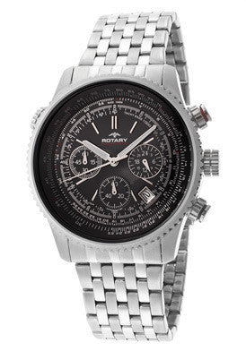 Rotary GB00100-04 Men's Aquaspeed Chronograph Black Dial