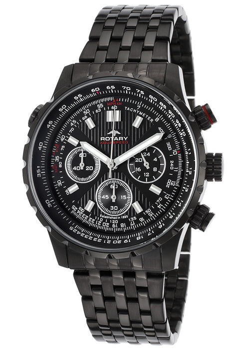 Rotary GB00177-04 Men's Aquaspeed Chronograph Black Steel And Dial