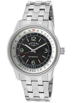 Rotary GB00200-SP-19 Watches,Men's Black Sundial Stainless Steel