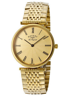 Rotary GB90002-45 Men's Les Originales Gold Textured Dial Gold Tone Ion Plated Stainless Steel