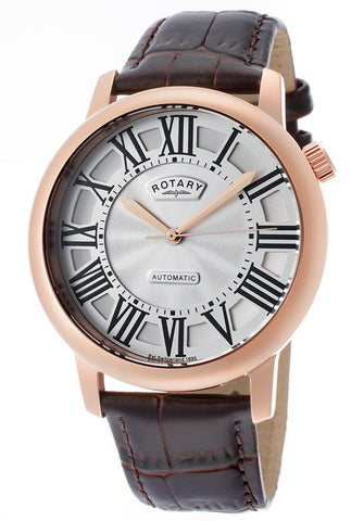 Rotary GLE000012-21 Watches,Men's Automatic Rose Gold Tone IP Stainless Steel Case Silver Dial Brown Genuine Leather