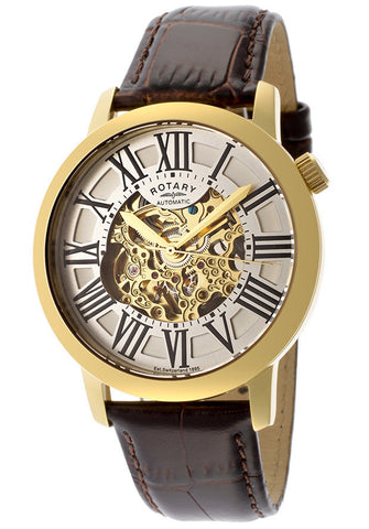 Rotary GLE000013-21 Men's Automatic Gold IP Stainless Steel Case Silver/Gold Tone Skeletonized Dial Brown Genuine Leather