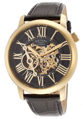 Rotary GLE000016-10 Swiss Men's Automatic Skeletonize Dial Black Genuine Leather