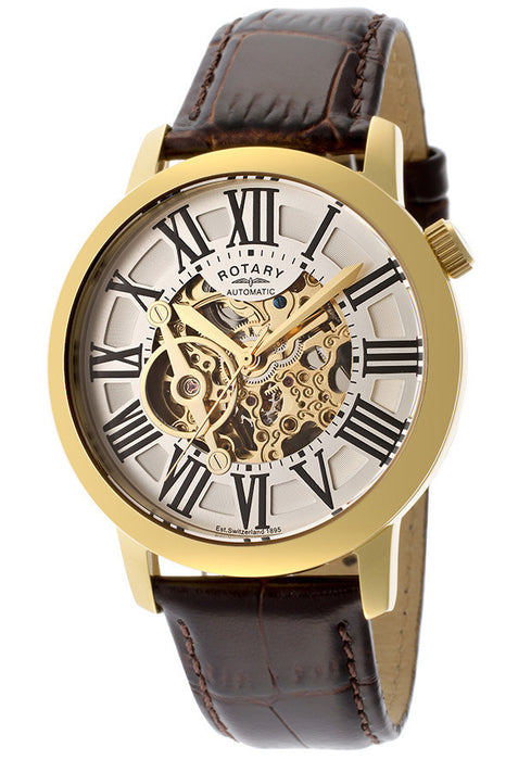 Rotary GLE000016-21 Men's Automatic Gold IP Stainless Steel Case Gold Tone Skeletonized Dial Brown Genuine Leather
