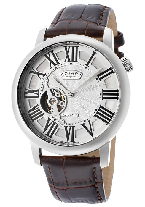 Rotary GLE000018-21 Men's Automatic Silver Dial Brown Genuine Leather