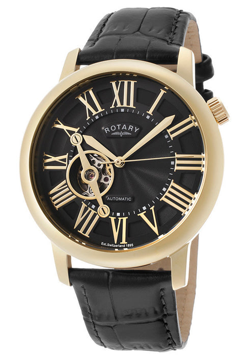 Rotary GLE000019-10 Men's Automatic Black Dial Black Genuine Leather