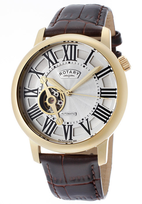 Rotary GLE000019-21 Men's Automatic White Dial Brown Genuine Leather