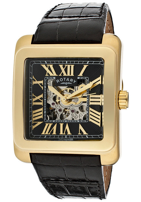 Rotary GLE00008/10 Men's Editions Automatic Partially See Thru Dial Gold Tone IP Case Black Genuine Leather