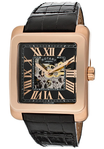 Rotary GLE00009-10 Men's Editions Automatic Partially See Thru Dial Rose Gold Tone IP Case Black Genuine Leather