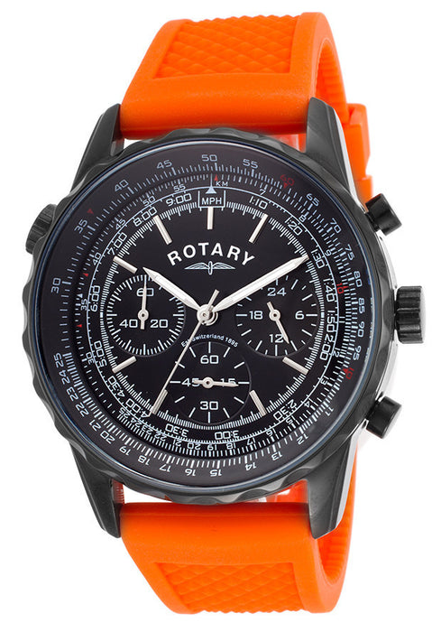 Rotary GS00106-04 Men's Chronograph Black Dial Orange Silicone