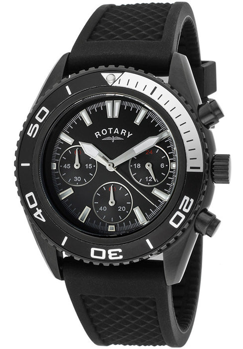 Rotary GS00107-04 Mens All Black Watch, Rubber Strap