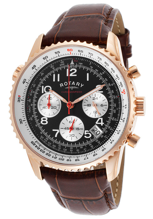 Rotary Men's Chronospeed Chrono Brown Genuine Leather Black Dial GS00118-19