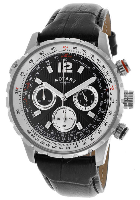 Rotary GS00120/04 Men's Chronograph Black Dial Black Genuine Leather Watch