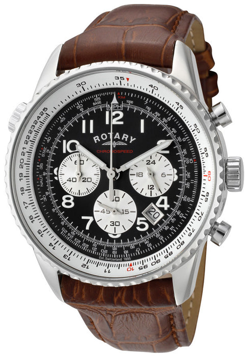 Rotary GS03351-19 Men's Chronospeed Chronograph Black Dial Brown Genuine Leather