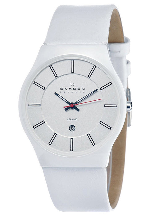 Skagen 233XLCLW Men's White Dial White Leather