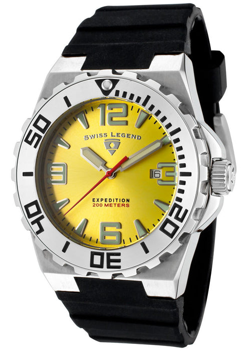 Swiss Legend Men's SL-10008-07 Expedition Black/Yellow Silicone Watch