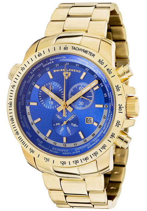 Swiss Legend Men's 10013-YG-33 World Timer Collection Chronograph Stainless Steel Watch
