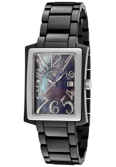 "Swiss Legend Women's 10034-BKBSA ""Bella"" Black Mother-of-Pearl Rectangle Watch"