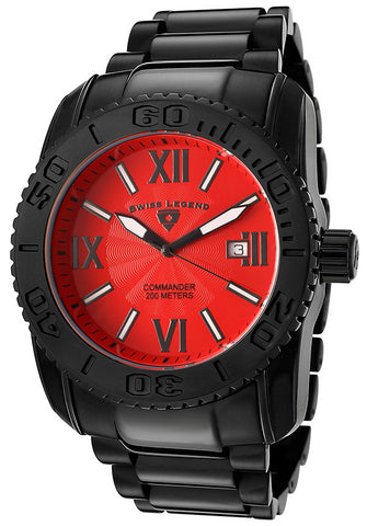 Swiss Legend Men's 10059-BB-55 Commander Collection Black Ion-Plated Stainless Steel Watch