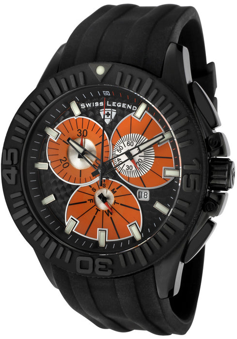 Swiss Legend Men's Evolution Chronograph Black/Orange Dial Black Silicon