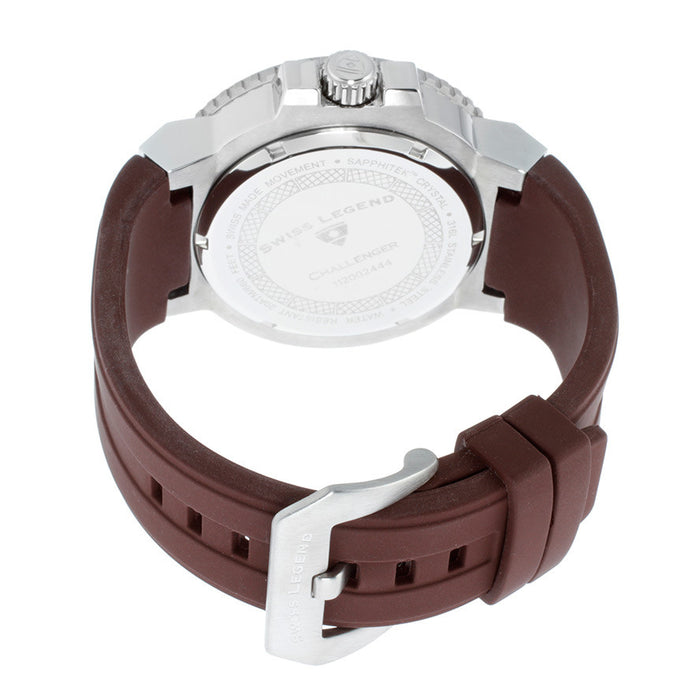 Swiss Legend Men's 10126-04 Challenger Brown Dial Brown Silicone Watch