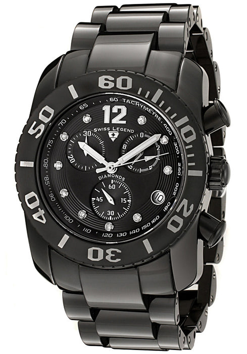 Swiss Legend Men's 10127-BKBD Commander Diamond Chronograph Black Ceramic Watch