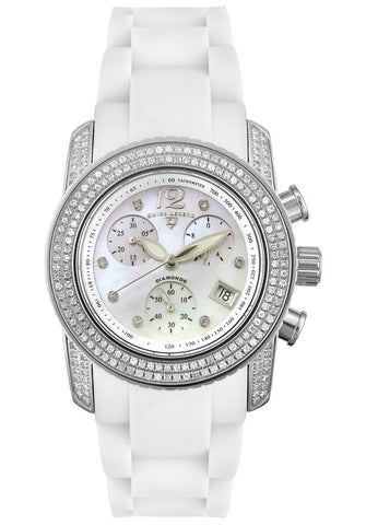 Swiss Legend Women's Ladies Diamonds 20058E Rubber Swiss Quartz Watch with White Dial