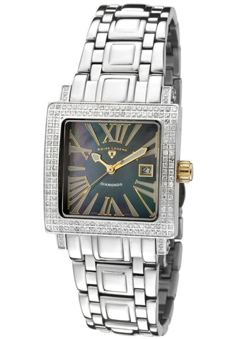 Women's Colosso Diamond (0.85 ctw) Black Mother Of Pearl Dial Stainless Steel