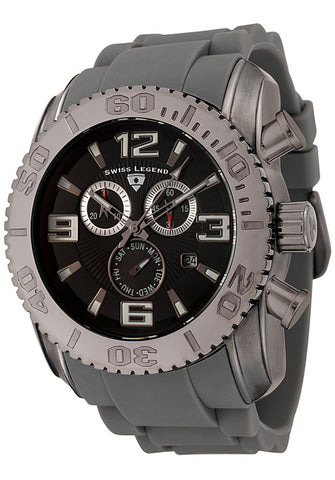 Swiss Legend Men's 20067-GM-01 Commander Collection Chronograph Gun Metal Grey Rubber Watch