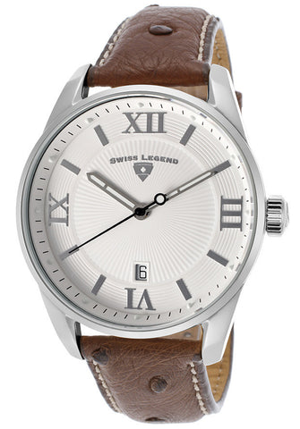 Swiss Legend 22012-02-DA02C Bellezza Genuine Dark Brown Ostrich White Dial