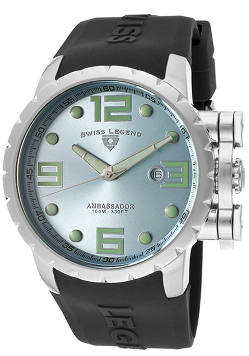 Swiss Legend Men's 30021-012 Ambassador Light Silver Blue Dial Black Silicone Watch