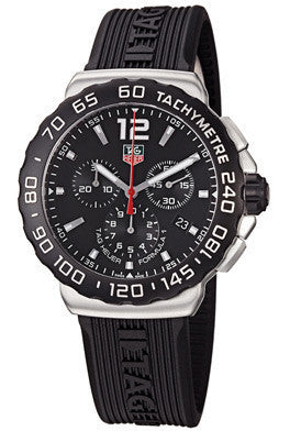 Tag Heuer CAU1110.FT6024 Men's Formula 1 Chronograph Black Dial Black Textured Rubber