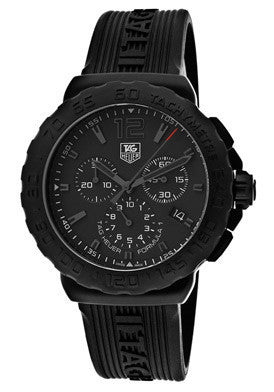 Tag Heuer CAU1114.FT6024 Men's Formula 1 Chronograph Black Dial Black Textured Rubber