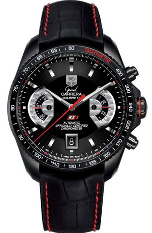Tag Heuer CAV518B.FC6237 Watches,Men's Grand Carrera Black Chronograph Dial Black Leather