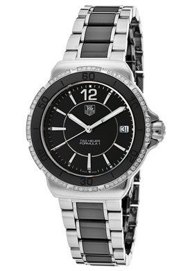 Tag Heuer WAH1212.BA0859 Women's Formula 1 Diamond Black Dial Stainless Steel & Black Ceramic