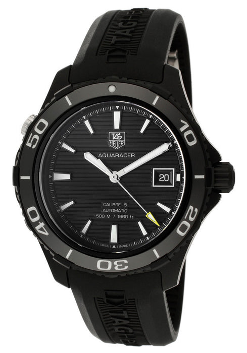 TAG-WAK2180.FT6027 Men's Automatic Black Textured Dial Black Silicone