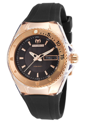 Technomarine 110037 Women's Cruise Rose-Tone Case Black Silicone