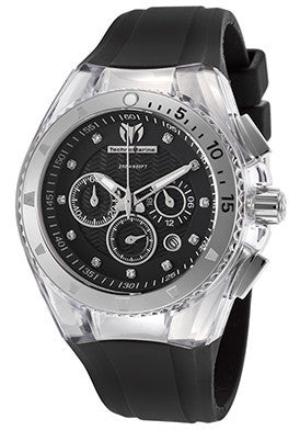Technomarine 112001 Men's Cruise Chronograph Black Silicone Strap and Dial White Accents