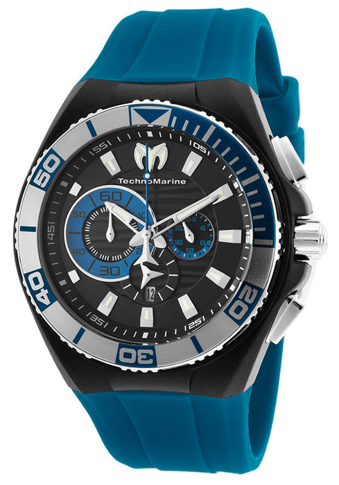 Technomarine 112010 Men's Cruise Chronograph Blue Silicone Black Dial