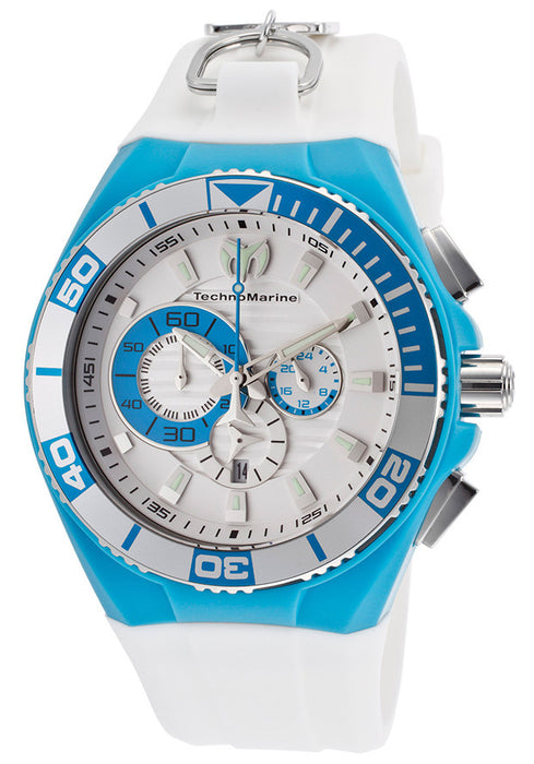 Technomarine 112013 Men's Cruise Chronograph White Silicone Strap and Dial
