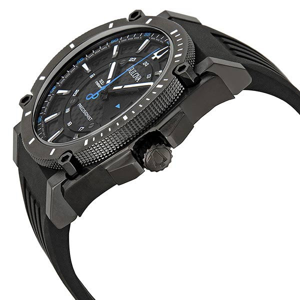 Bulova Men's 98B142 Precisionist Black Dial Rubber Strap Watch