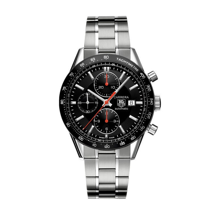 Tag Heuer TAG-CV2014.BA0794 Men's Carrera Black Chronograph Dial Stainless Steel Bracelet