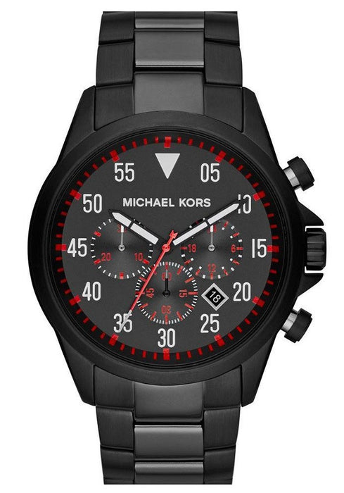 Michael Kors Nate Black Dial Black Ion-plated Mens Watch MK8332