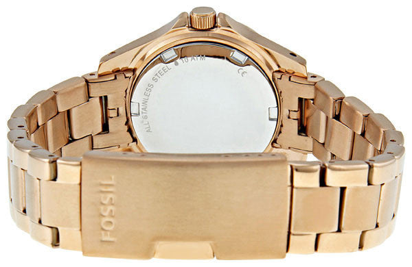 Fossil Fossil Ladies Rose Gold Mini Riley 3-Hand Analog Glitz Watch with Date