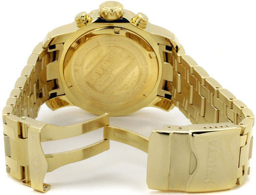 Invicta 0075 Men's Pro Diver Chronograph 18k Yellow Gold Plated