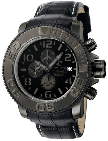 Invicta 0604 Men's Reserve Automatic Chronograph Black Dial Black Calf Leather